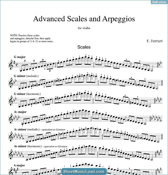 Advanced Scales And Arpeggios Sheet Music For Violin Solo By