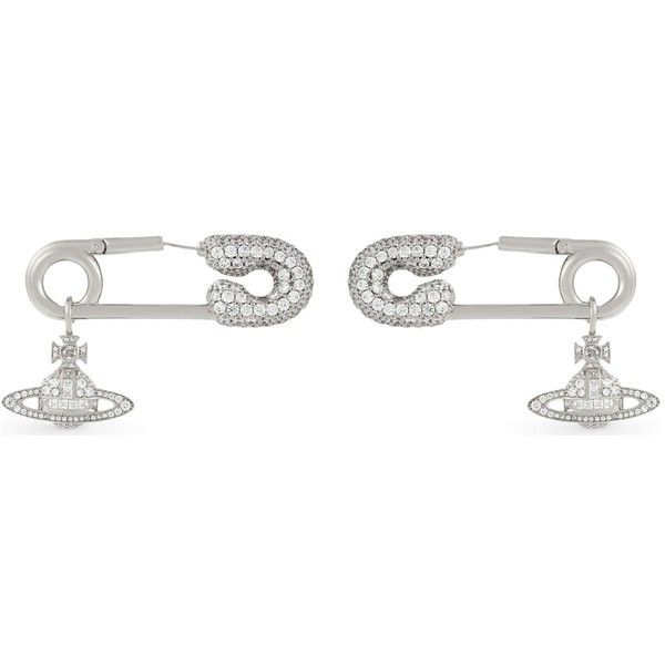 Vivienne Westwood Jewellery Clotilde embellished pin earrings ($230) ❤ liked on Polyvore featuring jewelry, earrings, safety pin jewelry, vivienne westwood earrings, punk earrings, punk rock earrings and earring jewelry