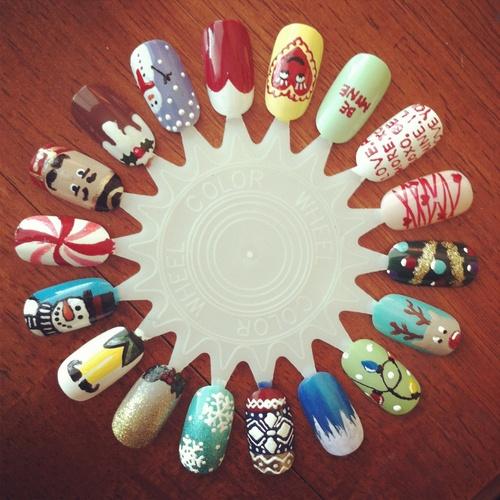 Christmas holiday nail art wheel  by LookAtHerNails