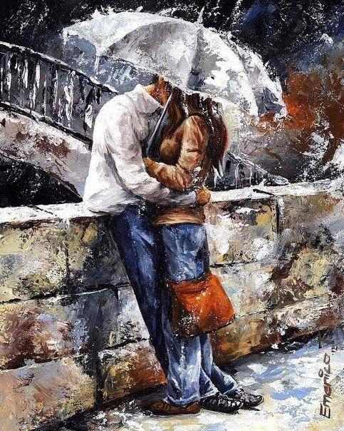 adorable umbrella kiss scene