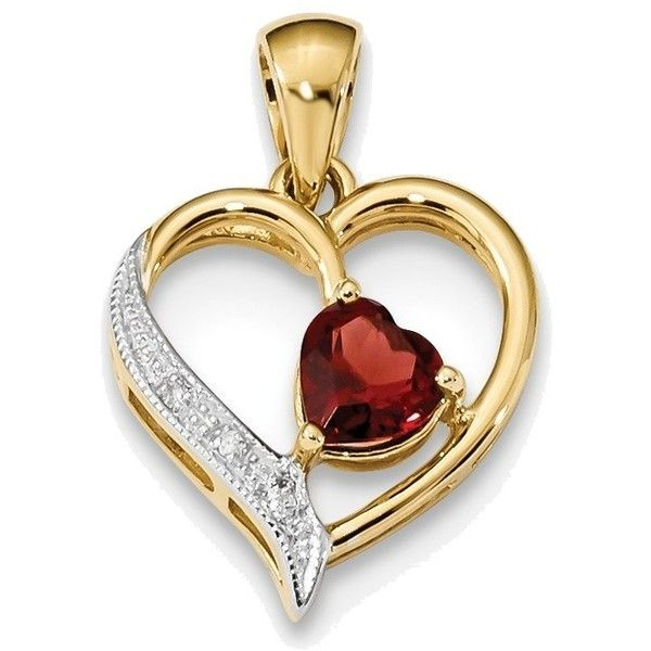 14K Yellow Gold w/ Rhodium Diamond & Garnet Polished Heart Pendant ($147) ❤ liked on Polyvore featuring jewelry, pendants, gold jewelry, garnet heart pendant, diamond heart pendant, gold heart pendant and yellow gold heart pendant
