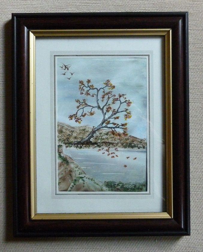 'My Lakeside Encaustic Art Painting.'    Painted with coloured waxes and a warm iron.   1990's.   Designed and painted by Jennifer Johnston.