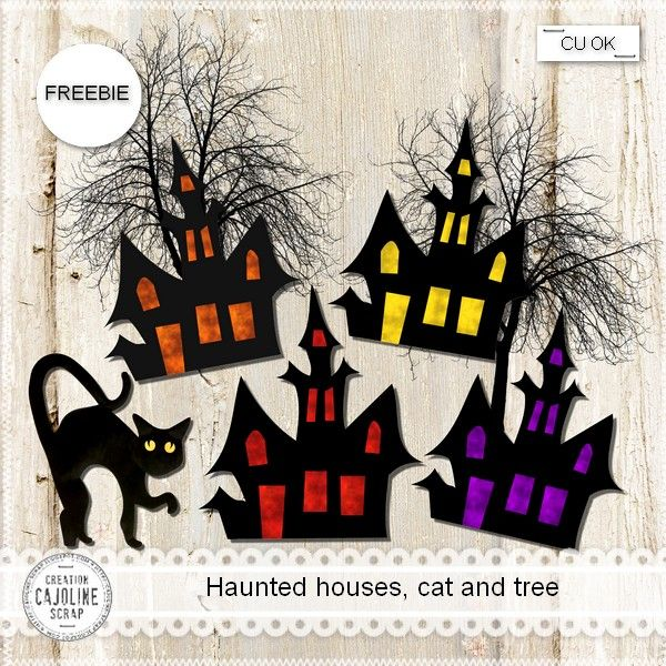 4 haunted houses, 1 cat and 1 tree for Halloween Full size - PNG 300 dpi - CU OK (shadows only on the preview) Télécharger ICI Téléchargeme...