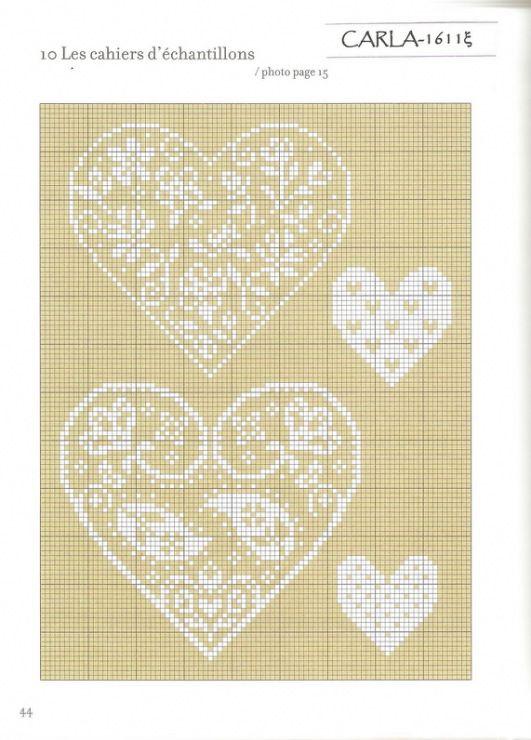 Punto de cruz. Grille. Pattern.  Corazones. Hearts.
