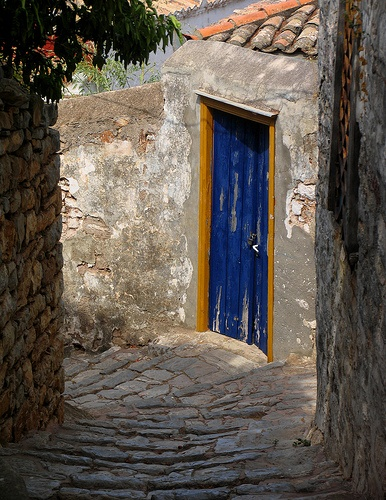 Blue door on Hydra, Greece