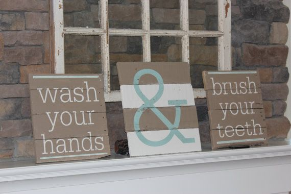 This three piece bathroom set made on reclaimed pallet wood board. The two smaller signs measure 12 x 12 and the larger center one is 12 x 14. The