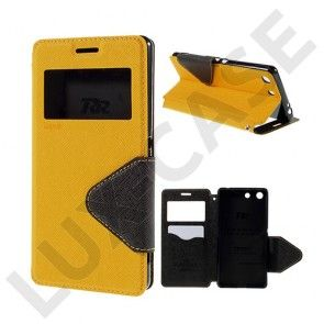 ROAR KOREA læder-etui med kortholder, stå-funktion og smart-view til Sony Xperia M5 E5603 / M5 Dual E5633 - Gul