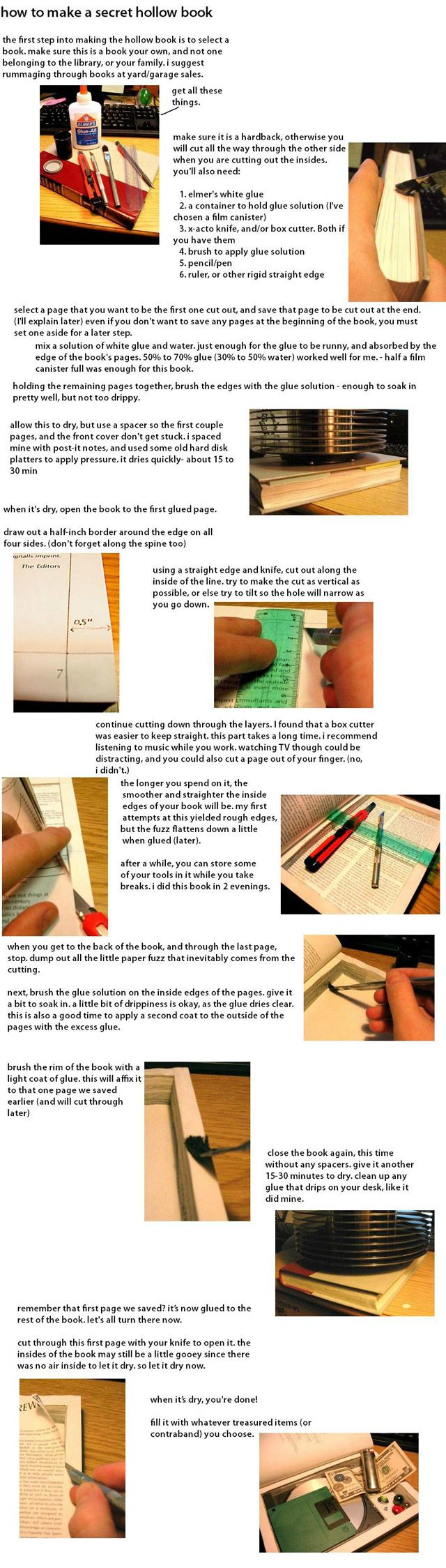 DIY how to make a secret hollow book - I'm doing this to a small bible so I can stash a flask inside! Hallelujah!
