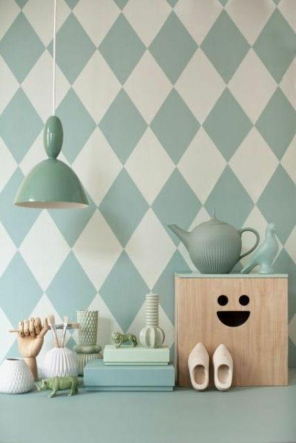 küche wandgestaltung ideen mustertapeten pastellfarben
