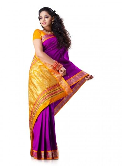 Bright Purple Gold Art Silk Saree