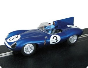 The Scalextric Jaguar D-Type 1957 Ecurie Ecosse recreates the Ecurie Ecosse (Ault Wyborg Flag blue metallic) blue liveried Jaguar D-Type XKD606, winner of the 1957 Le Mans 24 Hours race, as driven by Ron Flockhart and Ivor Bueb.
