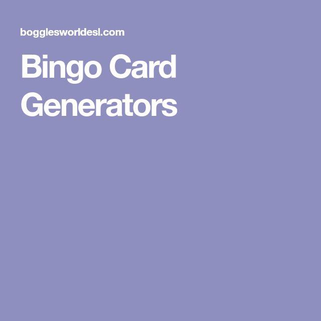 Bingo Card Generators
