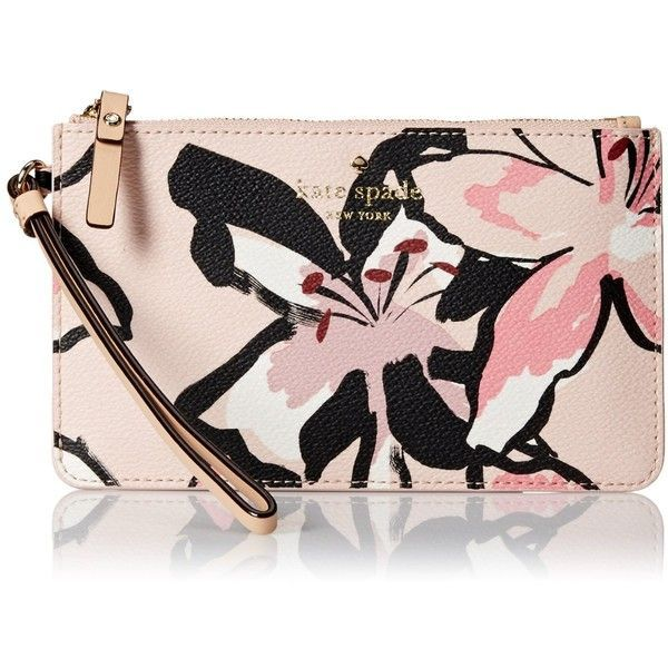 kate spade new york Hawthorne Lane Floral Slim Bee Wristlet (€61) ❤ liked on Polyvore featuring bags, handbags, clutches, kate spade purses, floral print handbags, pink wristlet, kate spade handbag and floral print purse