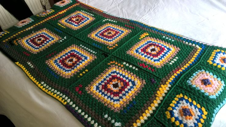 Bottle green crochet throw. OOAK hand made multicoloured cover. Granny square blanket. Crochet bed cover. Rainbow of colours. Afghan throw. by Nobodyknitsitbetter on Etsy