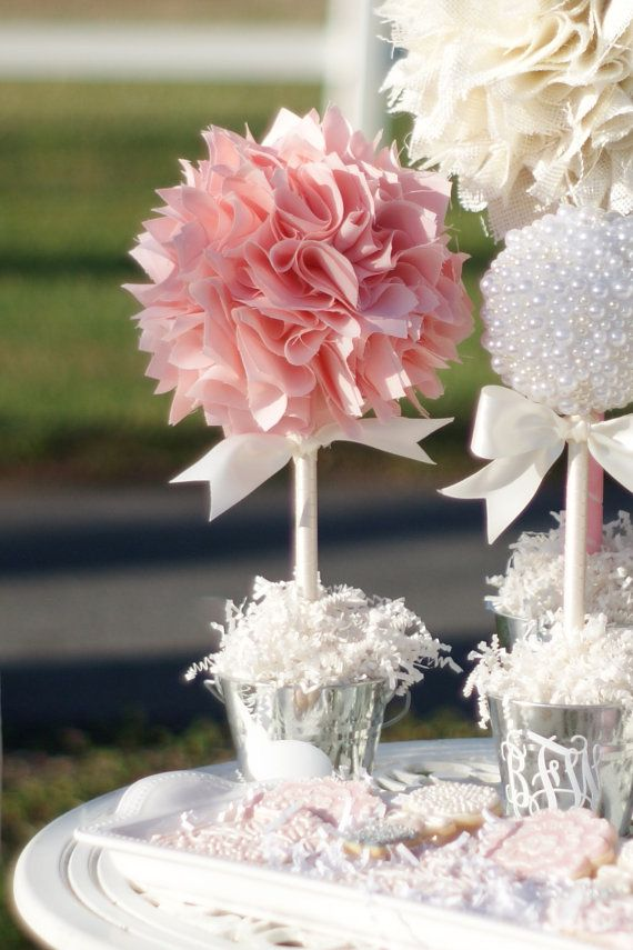 Spring Pastel Party in Pinks, Whites, & Pearls. Love this luxurious, pink Spring pom topiary with bunny rabbit on base.