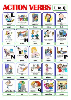 113 best esl images on Pinterest Education, English activities - action words list