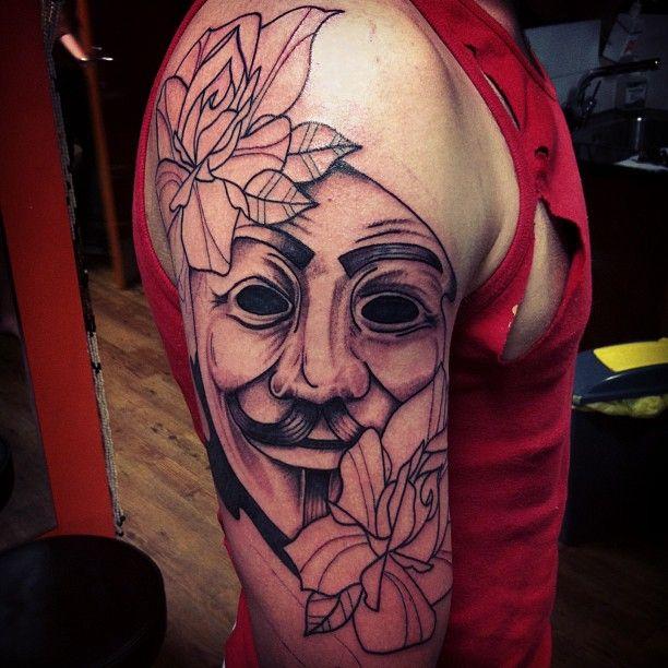 http://tattoomagz.com/v-for-vendetta-tattoos/amazing-v-for-vendetta-arm-tattoo/