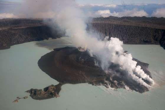 TOPSHOT - This photo taken on September 30, 2017 shows the Manaro Voui volcano on Vanuatu's Ambae is... - Dan McGarry/AFP/Getty Images