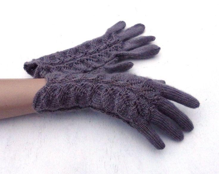 handgestrickte graue Handschuhe, handgestrickte Frauenhandschuhe mit den Fingern…