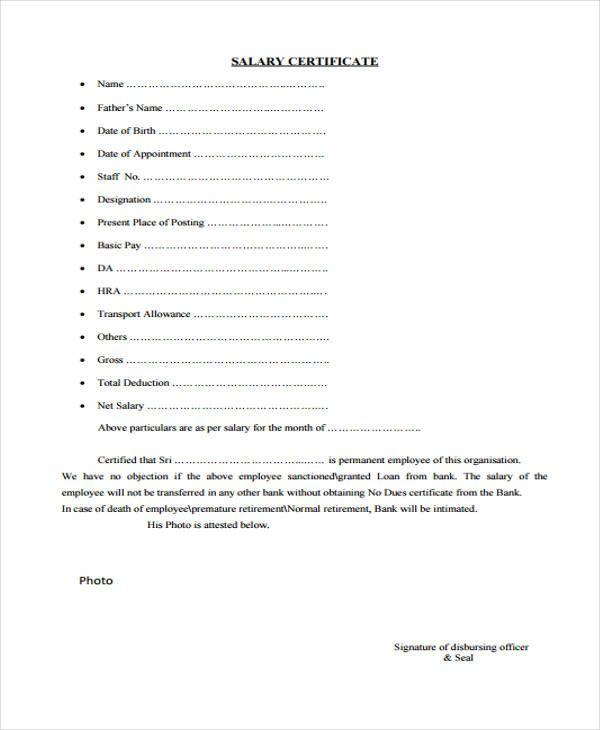 Salary certificate sample My work Certificate
