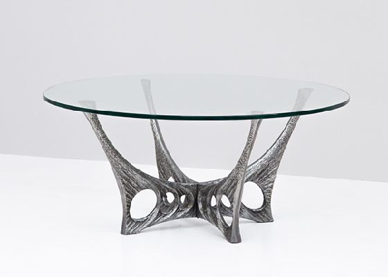 Glass Coffee Table by Willy Ceysens 1, sculptural aluminium base
