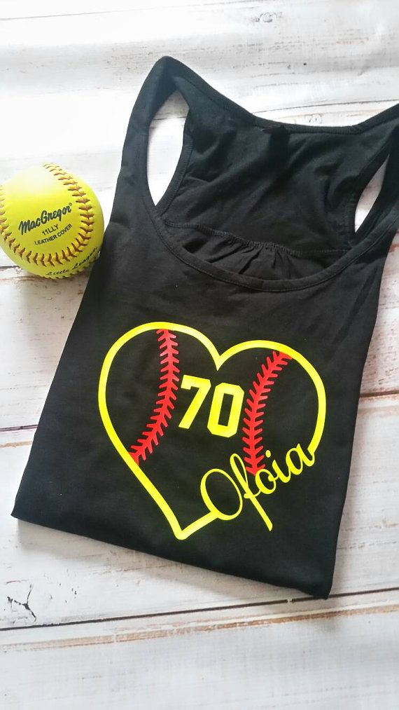 Softball mom tank top racerback tank. Softball by YoureSuchATees