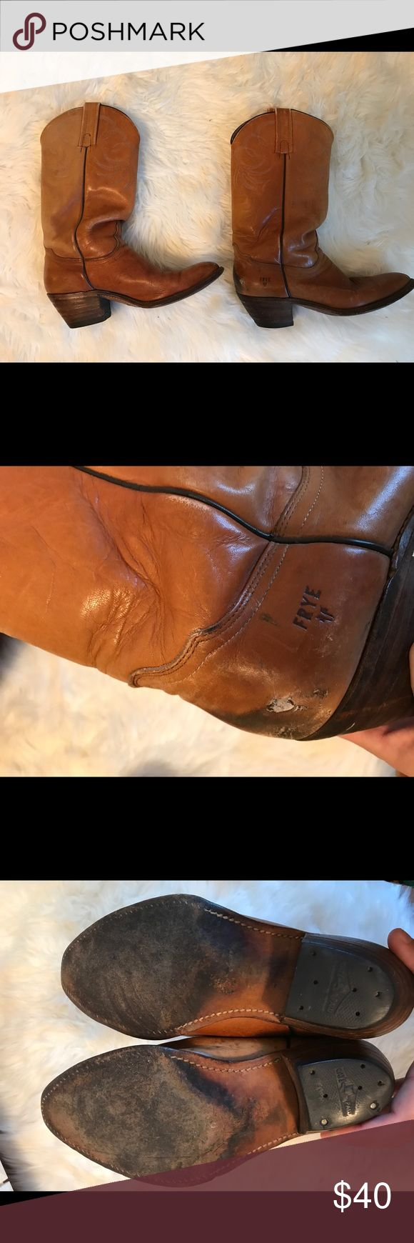 Women's Frye Cowboy Boots Previously loved 9.5D Women's Frye Cowboy boots! These are a re-posh, just never had the chance to wear them. Photos reflect wear, I believe they have been resoled as well. Plenty of life left! These are a steal for the upcoming cool weather 🍁🍂 Frye Shoes Heeled Boots