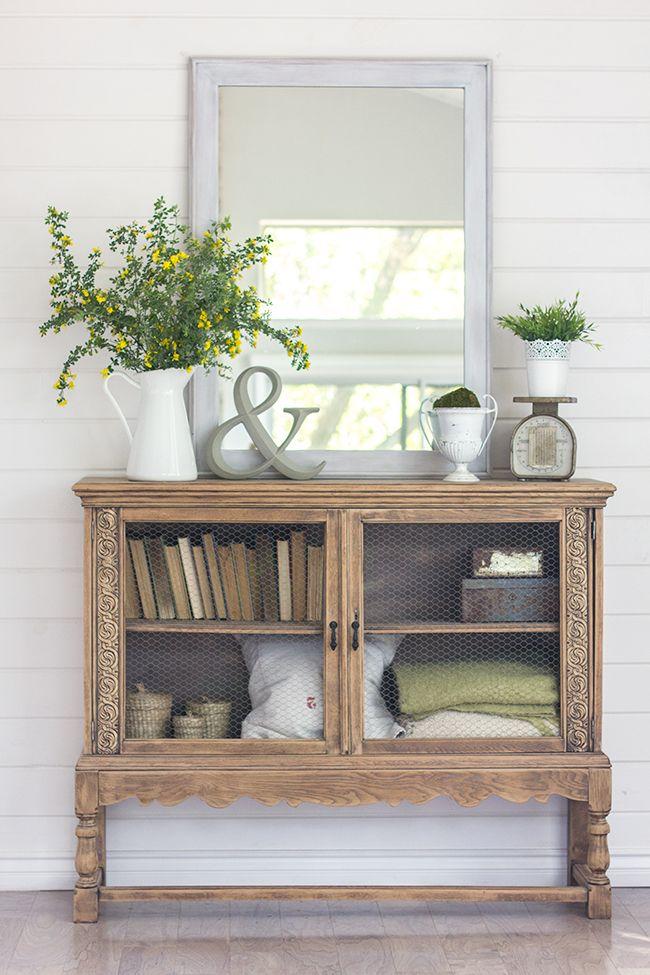 Spring Home Tour - vintage cabinet decorating