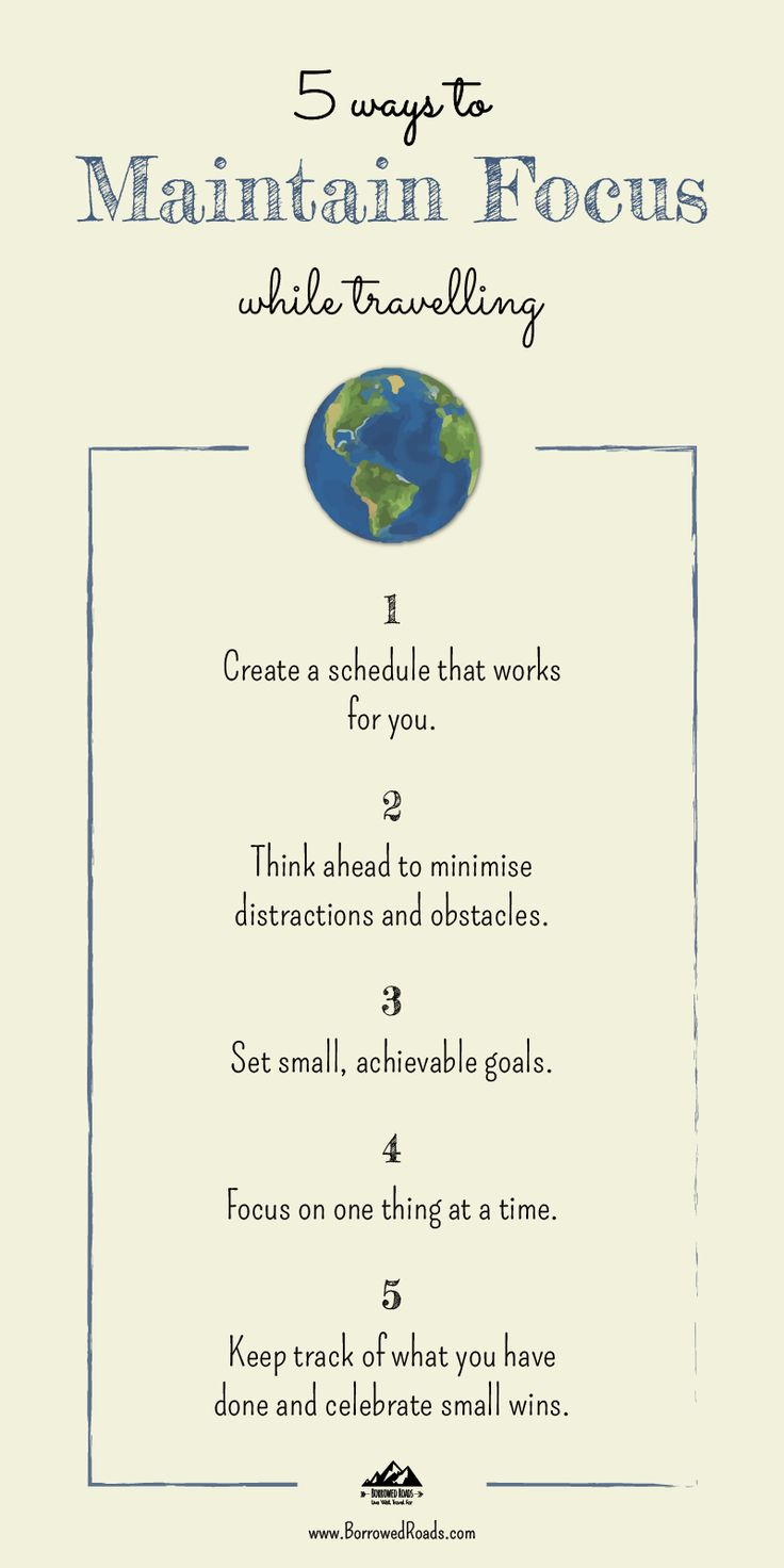 Read our 5 ways to maintain focus while travelling #mindfulness #infographic #travel #focus