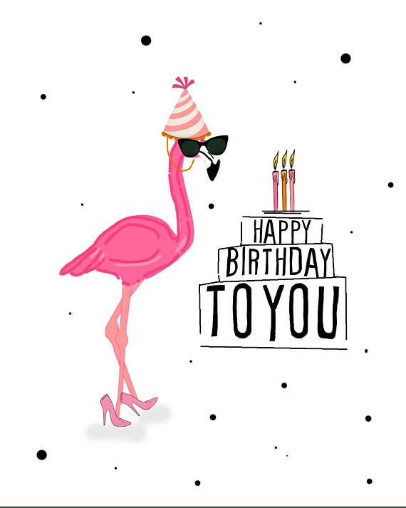 Happy Birthday Flamingo digital card, Printable greeting card, happy birthday, girly flamingo, heels, party hat, sunglasses, funny