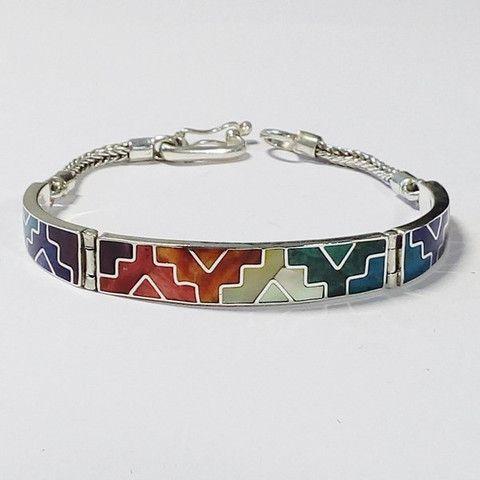 bracelet avec croix chakana incrustées de pierres fines