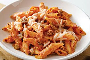 This hearty pasta only requires 20 minutes of prep, and even less oven time. Comfort food at its best, this bake has it all - penne, ground beef, vegetables, a creamy tomato sauce and melted cheese.