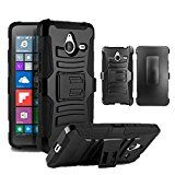 """Microsoft Lumia 640 XL Phone Case, [Storm Buy ] Premium Hard & Soft Sturdy Durable Rugged Shell Hybrid Protective [ Anti Scratch ] Phone Case Cover with Built in Kickstand For Microsoft Lumia 640XL 5.7"""" (Holster Black)"""