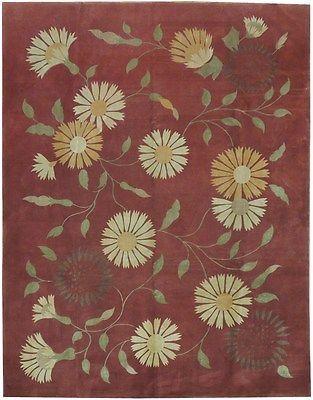 Modern Wool&Silk 8x10 Fine Carpet TRANSITIONAL RUG
