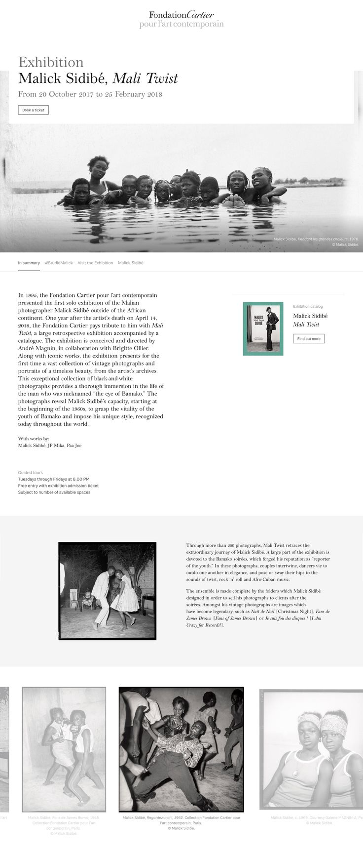 Design of exhibition page - Fondation Cartier