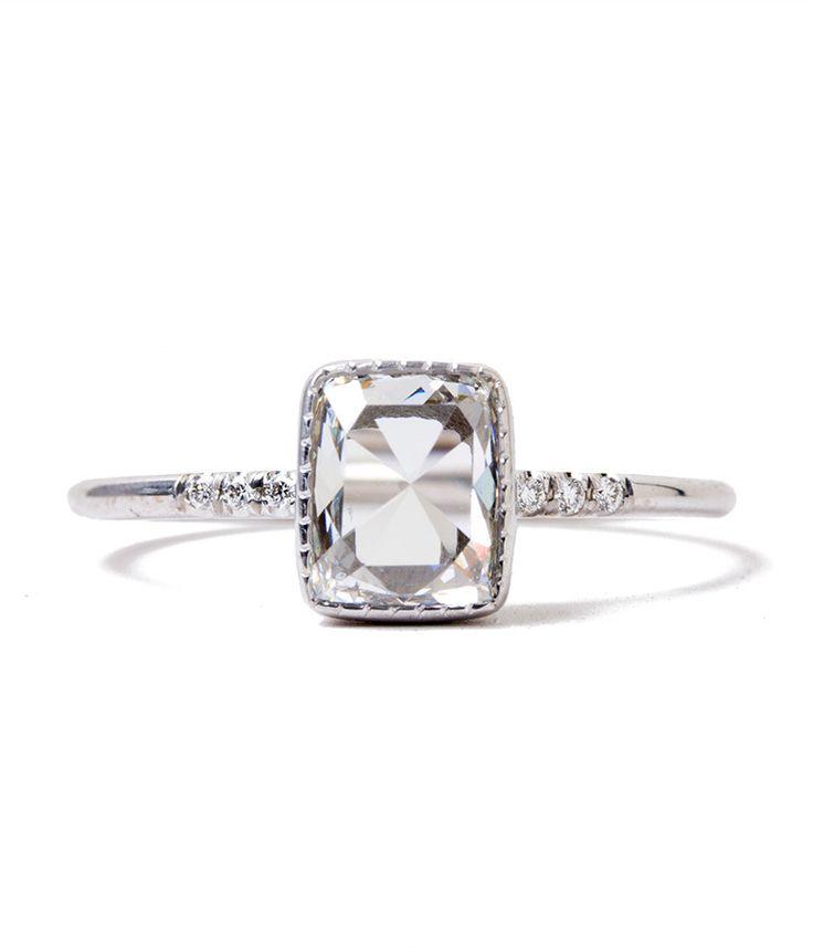Square Rose Cut Diamond Ring - Audry Rose