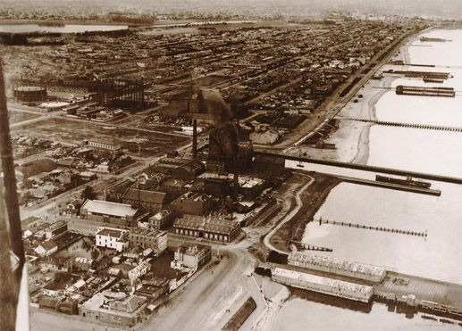 Aerial view of Port Melbourne and bay, c1928. City of Port Phillip Heritage Collection