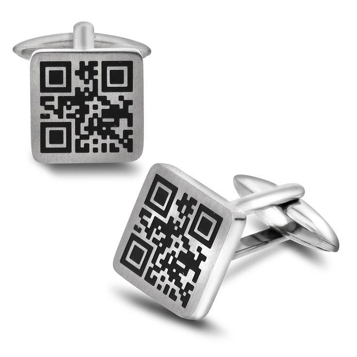 Til den teknologi-interesserte broren: Stål mansjettknapper med QR-kode
