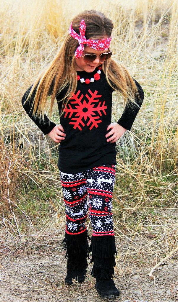Red Glitter Snowflake Reindeer Aztec Pant Set