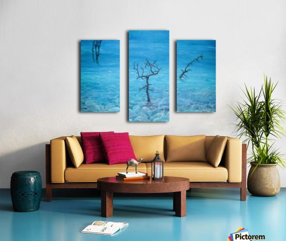 Winter, seascape, trees, scene, blue, fine art, oil painting, decor items, triptych, 3 split, stretched, canvas, multi panel, prints, for sale