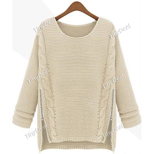 Casual Zipper Patchwork Crew Neck Fashion Sweater Knitwear for Women DCD-357922