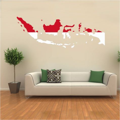 Indonesia Flag Map Decal Wall Sticker