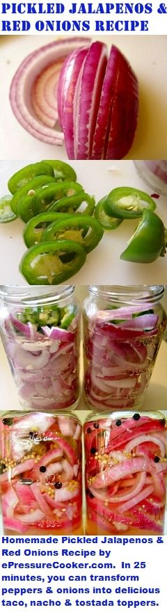 Mexican / TexMex Recipes:  Homemade Pickled Jalapenos and Red Onions Recipe by ePressureCooker.com .  Don't pay grocery store high prices for Jalapeno Nacho Rings!  Buy the fresh ingredients on sale, make them yourself in a few minutes, and top your tacos, nachos and salads for less (and without the added vegetable oil and preservatives)