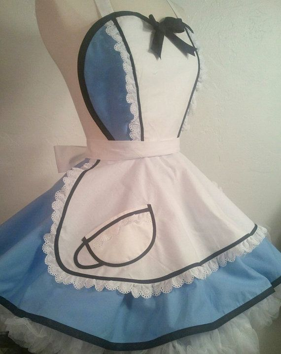 Alice In Wonderland Pin Up Costume Apron by PickedGreen on Etsy