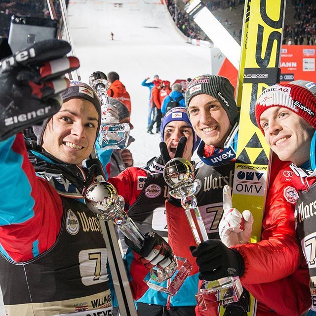 Happy about 2nd place and best team finish of the season! Still hungry for more! #skijumpingaut #omv #frischerwind #stiegl #iwill #championstrainwithtechnogym