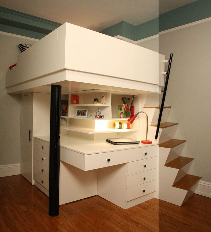 Bedroom Corner Desk: Bedroom, Modern Compact Corner Loft Beds For Teenagers