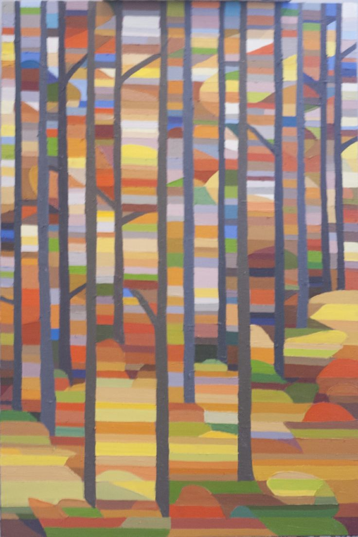 Yellow Red Forest Oil on Canvas 36 X 24