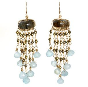 Amanda Sterett Jordan Earrings - Hand-wrapped labradorite dripping in chains of olive pearl and drops of aquamarine. #Sale $199.99.