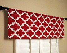 Red Window Valance - Red Valance - Kitchen Window Valance - 50x16 Valance - Window Treatments -Bedroom Valances V0015