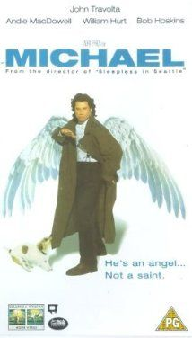 """""""Michael"""" (1996).  Two tabloid reporters checking out a report of the Archangel Michael living with an old woman find that it's true. But that's not the only surprise.  Written by Nora Ephron, with John Travolta as Michael, this movie is a delight to watch (did I just say """"delight?)."""